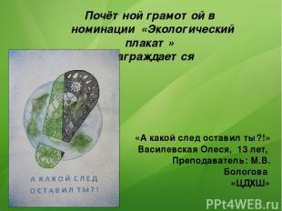 Почётной грамотой в номинации «Экологический плакат» Награждается «А какой след
