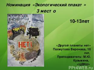 Номинация «Экологический плакат» 3 место «Другой планеты нет» Пахмутова Вероника