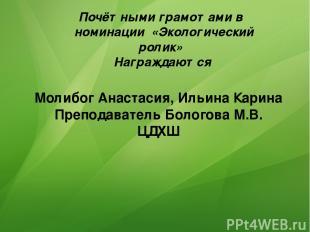 Почётными грамотами в номинации «Экологический ролик» Награждаются Молибог Анаст