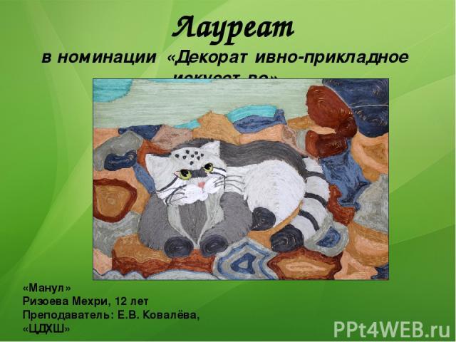 Лауреат в номинации «Декоративно-прикладное искусство» «Манул» Ризоева Мехри, 12 лет Преподаватель: Е.В. Ковалёва, «ЦДХШ»
