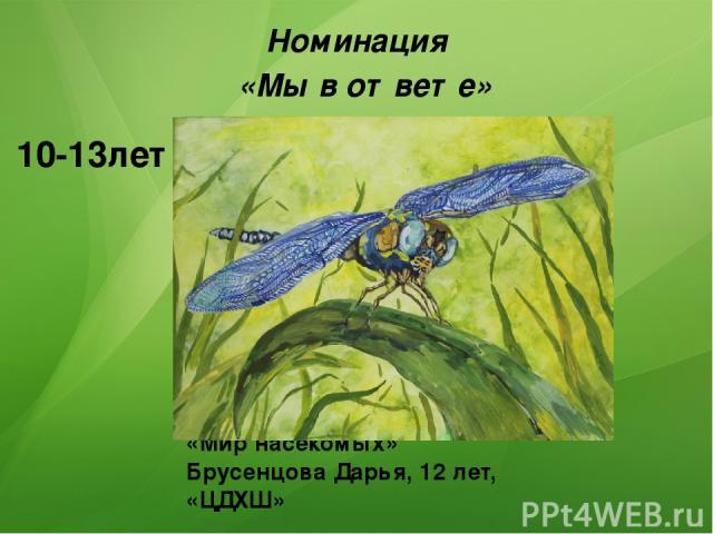«Мир насекомых» Брусенцова Дарья, 12 лет, «ЦДХШ» Номинация «Мы в ответе» 1 место 10-13лет