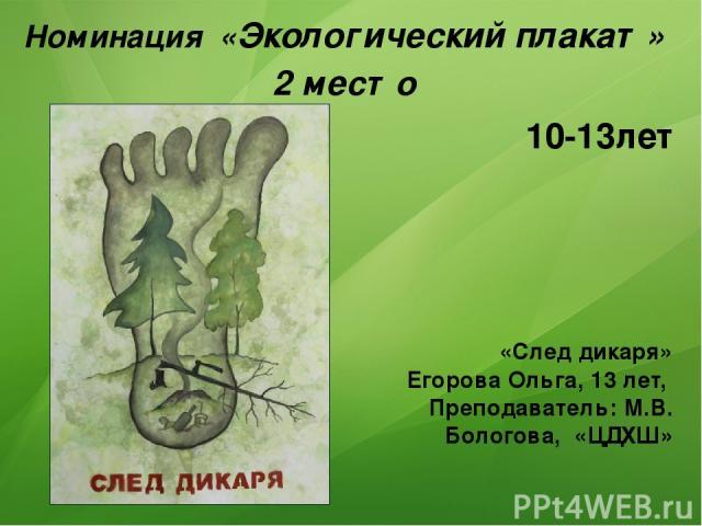 Номинация «Экологический плакат» 2 место «След дикаря» Егорова Ольга, 13 лет, Преподаватель: М.В. Бологова, «ЦДХШ» 10-13лет