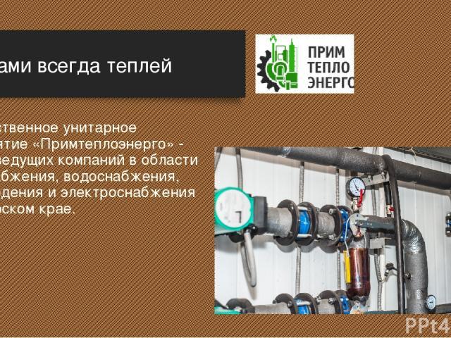 Государственное унитарное предприятие «Примтеплоэнерго» - одна из ведущих компаний в области теплоснабжения, водоснабжения, водоотведения и электроснабжения в Приморском крае. С нами всегда теплей