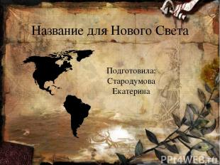 Название для Нового Света Подготовила: Стародумова Екатерина