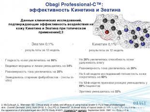 Obagi Professional-C™: эффективность Кинетина и Зеатина Зеатин 0,1% результаты з