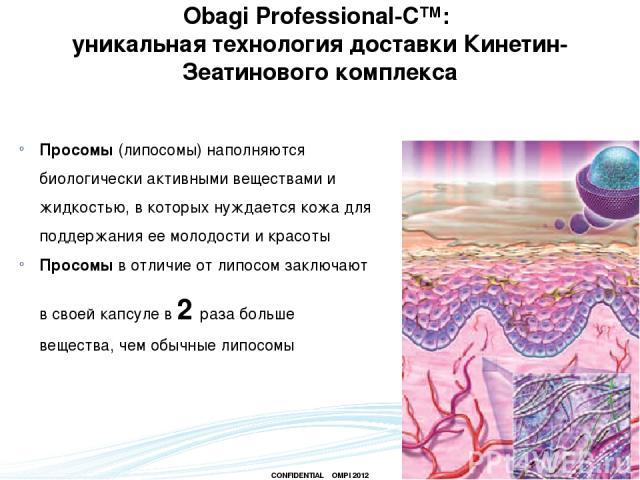 Просомы (липосомы) наполняются биологически активными веществами и жидкостью, в которых нуждается кожа для поддержания ее молодости и красоты Просомы в отличие от липосом заключают в своей капсуле в 2 раза больше вещества, чем обычные липосомы Obagi…