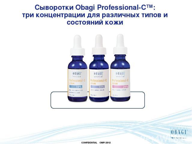 Сыворотки Obagi Professional-C™: три концентрации для различных типов и состояний кожи CONFIDENTIAL OMPI 2012