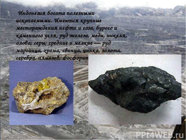 Полезные ископаемые Индонезия богата полезными ископаемыми. Имеются крупные месторождения нефти и газа, бурого и каменного угля, руд железа, меди, никеля, олова; бокситов, серы; средние и мелкие — руд марганца, хрома, свинца, цинка, золота, серебра,…