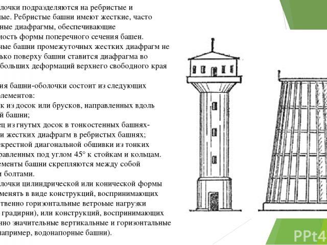 Башни-оболочки подразделяются на ребристые и тонкостенные. Ребристые башни имеют жесткие, часто расставленные диафрагмы, обеспечивающие неизменяемость формы поперечного сечения башен. Тонкостенные башни промежуточных жестких диафрагм не имеют, тольк…