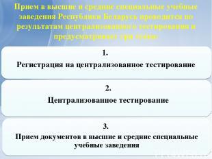 Прием в высшие и средние специальные учебные заведения Республики Беларусь прово
