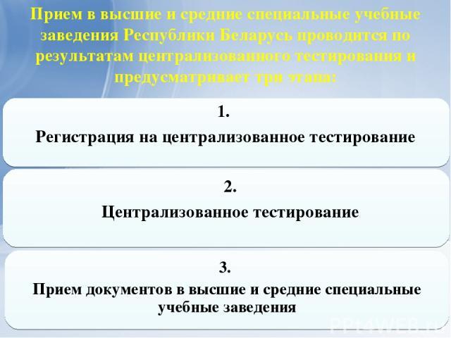 Прием в высшие и средние специальные учебные заведения Республики Беларусь проводится по результатам централизованного тестирования и предусматривает три этапа: 1. Регистрация на централизованное тестирование 2. Централизованное тестирование 3. Прие…