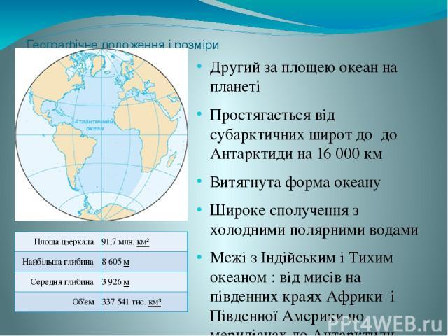 Географічне положення і розміри Другий за площею океан на планеті Простягається від субарктичних широт до до Антарктиди на 16 000 км Витягнута форма океану Широке сполучення з холодними полярними водами Межі з Індійським і Тихим океаном : від мисів …