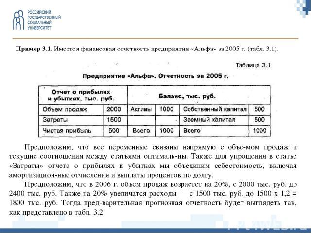 Пример 3.1.Имеется финансовая отчетность предприятия «Альфа» за 2005 г. (табл. 3.1). Предположим, что все переменные связаны напрямую с объе мом продаж и текущие соотношения между статьями оптималь ны. Также для упрощения в статье «Затраты» отчета …