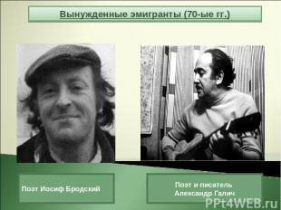 Вынужденные эмигранты (70-ые гг.) Поэт Иосиф Бродский Поэт и писатель Александр