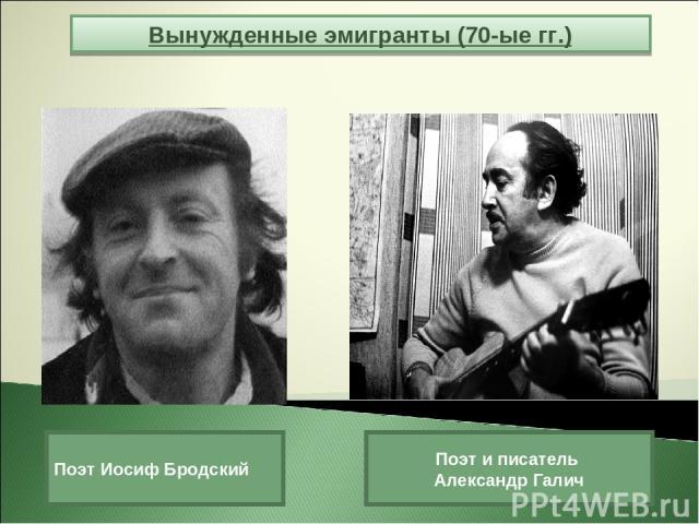 Вынужденные эмигранты (70-ые гг.) Поэт Иосиф Бродский Поэт и писатель Александр Галич