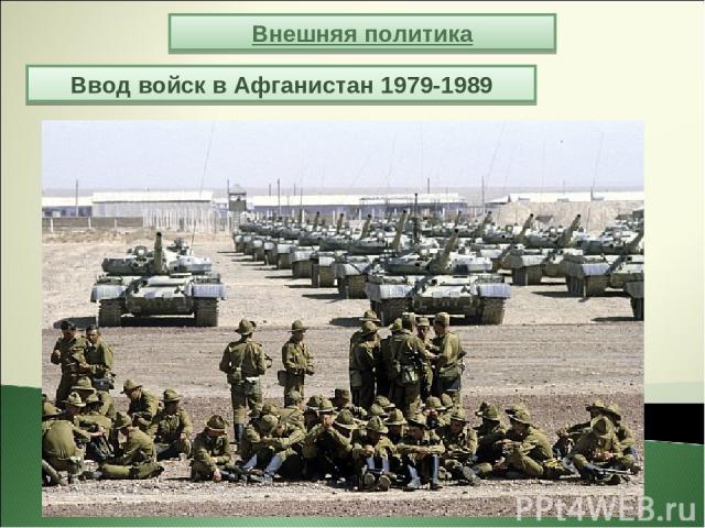 Внешняя политика Ввод войск в Афганистан 1979-1989