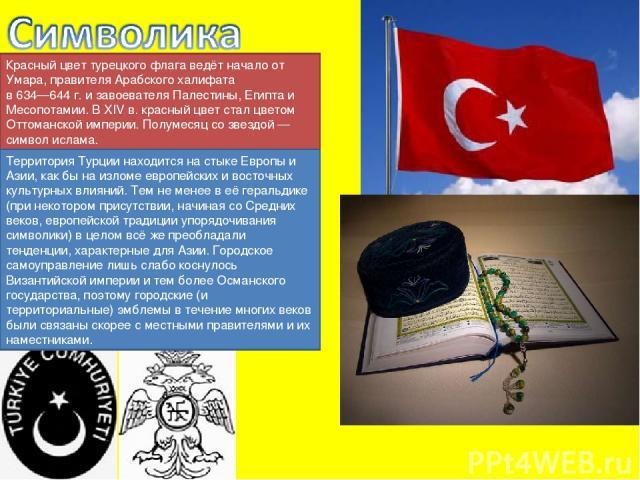 Красный цвет турецкого флага ведёт начало от Умара, правителя Арабского халифата в 634—644 г. и завоевателя Палестины, Египта и Месопотамии. В XIV в. красный цвет стал цветом Оттоманской империи. Полумесяц со звездой — символ ислама. Территория Турц…