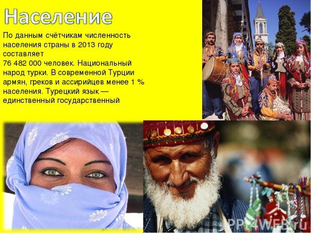 По данным счётчикам численность населения страны в 2013 году составляет 76 482 000 человек. Национальный народ турки. В современной Турции армян, греков и ассирийцев менее 1% населения. Турецкий язык— единственный государственный