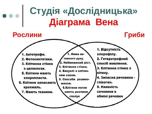 Студія «Дослідницька» Діаграма Вена Рослини Гриби