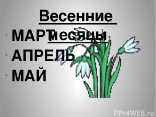 МАРТ АПРЕЛЬ МАЙ Весенние месяцы