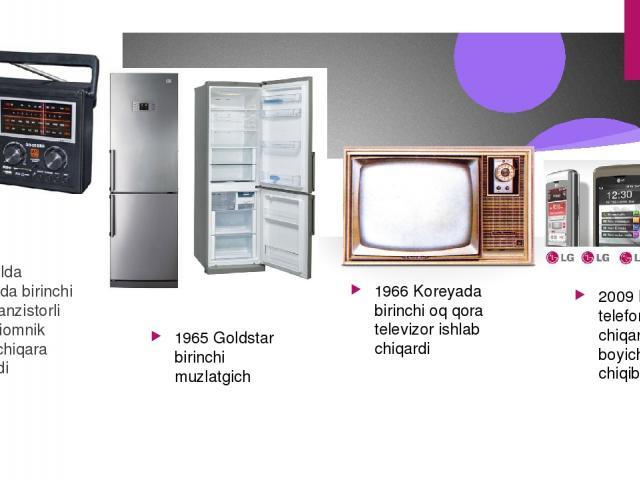 1959-yilda Koreyada birinchi bolib tranzistorli radiopriomnik ishlab chiqara boshladi 1965 Goldstar birinchi muzlatgich 1966 Koreyada birinchi oq qora televizor ishlab chiqardi 2009 LG dunyoda telefon ishlab chiqarish boyicha3-oringa chiqib oldi