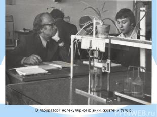 В лабораторії молекулярної фізики, жовтень 1978 р.