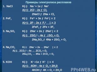 Примеры электролиза расплавов NaCl K(-): Na ++ 1e → Na0 A(+): 2Cl- - 2e → Cl2 2N