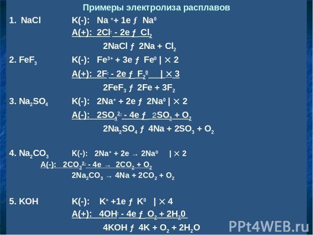 Примеры электролиза расплавов NaCl K(-): Na ++ 1e → Na0 A(+): 2Cl- - 2e → Cl2 2NaCl → 2Na + Cl2 2. FeF3 K(-): Fe3+ + 3e → Fe0 | 2 A(+): 2F- - 2e → F20 | 3 2FeF3 → 2Fe + 3F2 3. Na2SO4 K(-): 2Na+ + 2e → 2Na0 | 2 A(-): 2SO42- - 4e → 2SO3 + O2 2Na2SO4 →…