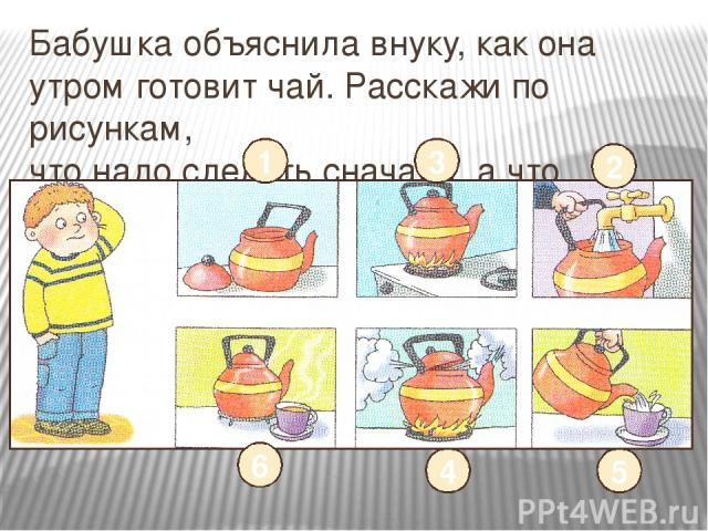 Бабушка объяснила внуку, как она утром готовит чай. Расскажи по рисункам, что надо сделать сначала, а что потом. 2 3 1 6 4 5