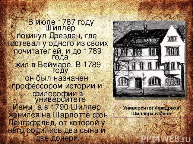 В июле 1787 году Шиллер покинул Дрезден, где гостевал у одного из своих почитателей, и до 1789 года жил в Веймаре. В 1789 году он был назначен профессором истории и философии в университете Йены, а в 1790 Шиллер женился на Шарлотте фон Ленгефельд, о…