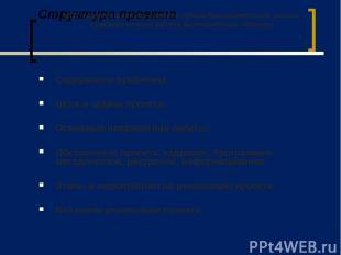 Структура проекта Содержание проблемы. Цели и задачи проекта. Основные направлен