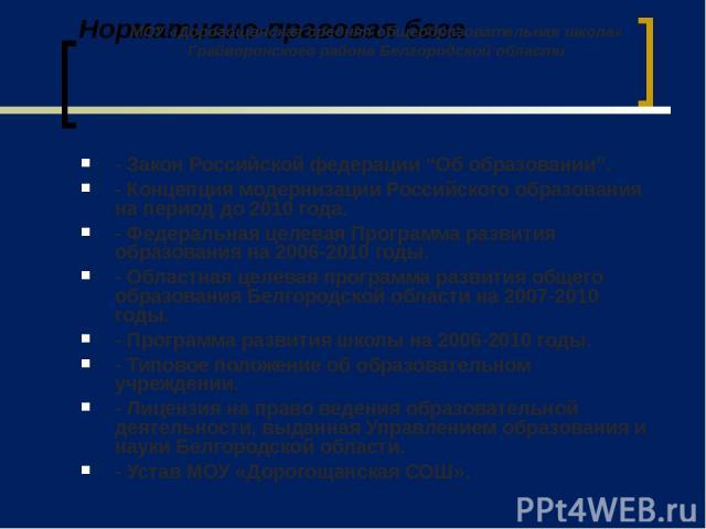 """Нормативно-правовая база - Закон Российской федерации """"Об образовании"""". - Концепция модернизации Российского образования на период до 2010 года. - Федеральная целевая Программа развития образования на 2006-2010 годы. - Областная целевая программа ра…"""