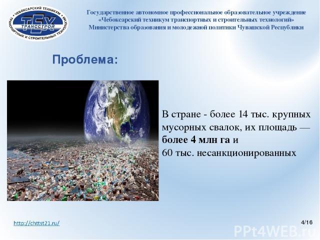 Проблема:  В стране - более 14 тыс. крупных мусорных свалок, их площадь — более 4 млн га и 60 тыс. несанкционированных Государственное автономное профессиональное образовательное учреждение «Чебоксарский техникум транспортных и строительных техноло…