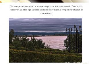 Питание реки происходит в первую очередь от дождей и ливней. Снег может подпитат