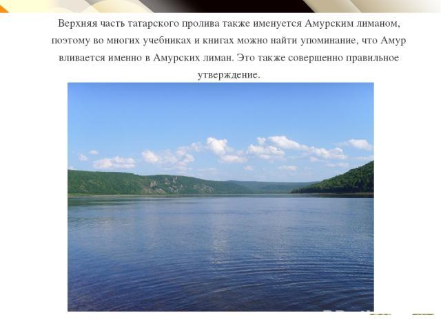 Верхняя часть татарского пролива также именуется Амурским лиманом, поэтому во многих учебниках и книгах можно найти упоминание, что Амур вливается именно в Амурских лиман. Это также совершенно правильное утверждение. Click to edit Master text style …