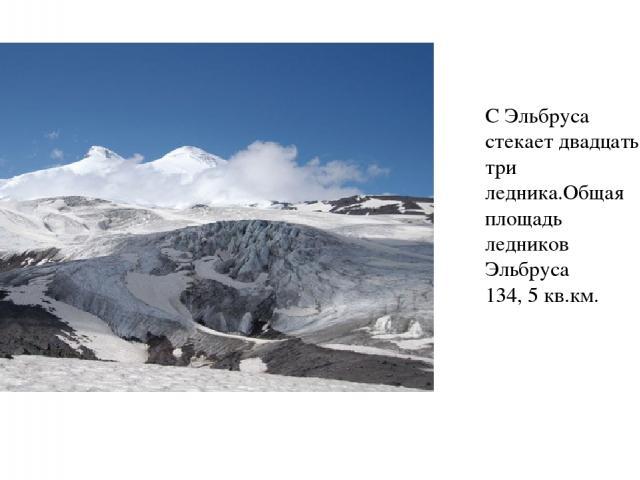 С Эльбруса стекает двадцать три ледника.Общая площадь ледников Эльбруса 134, 5 кв.км.