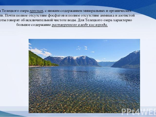 Вода Телецкого озера пресная, с низким содержанием минеральных и органических веществ. Почти полное отсутствие фосфатов и полное отсутствие аммиака и азотистой кислоты говорят об исключительной чистоте воды. Для Телецкого озера характерно большое со…