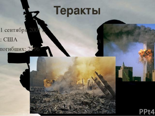 Теракты Дата: 11 сентября 2001 г. Страна: США Число погибших: 2996