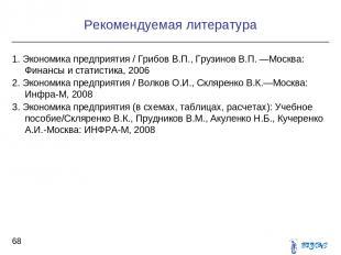 Рекомендуемая литература * 1. Экономика предприятия / Грибов В.П., Грузинов В.П.