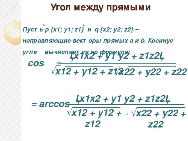Угол между прямыми │x1x2 + y1 y2 + z1z2│ cos φ = Пусть p {x1; y1; z1} и q {x2; y2; z2} – направляющие векторы прямых a и b. Косинус угла φ вычисляется по формуле: