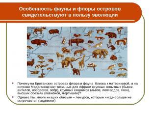 Особенность фауны и флоры островов свидетельствуют в пользу эволюции Почему на Б