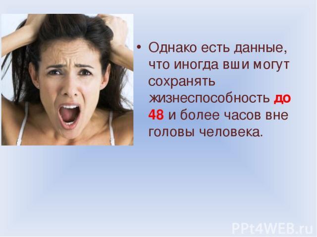 Однако есть данные, что иногда вши могут сохранять жизнеспособность до 48 и более часов вне головы человека.