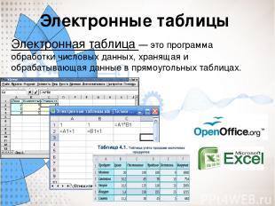 Электронные таблицы Электронная таблица — это программа обработки числовых данны