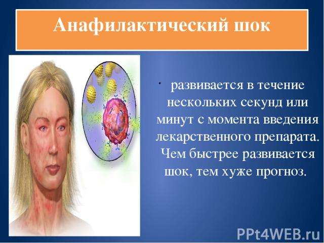 Анафилактический шок развивается в течение нескольких секунд или минут с момента введения лекарственного препарата. Чем быстрее развивается шок, тем хуже прогноз.