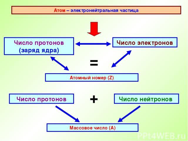 Атом – электронейтральная частица Число протонов (заряд ядра) Атомный номер (Z) Число электронов = Число нейтронов Число протонов + Массовое число (А)