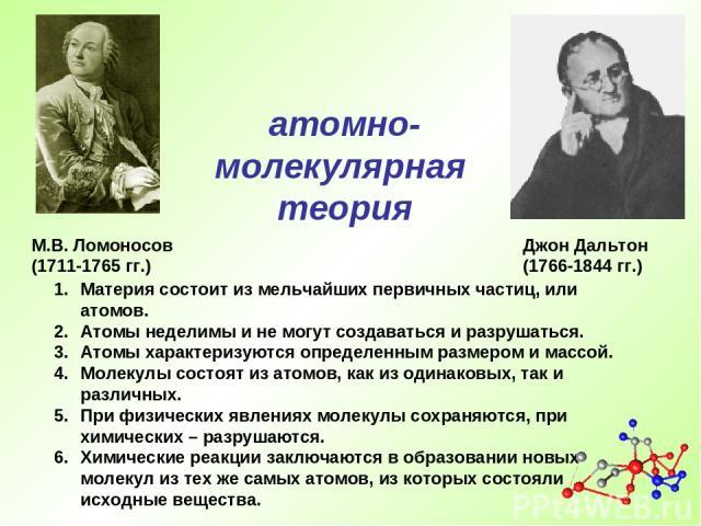М.В. Ломоносов (1711-1765 гг.) Материя состоит из мельчайших первичных частиц, или атомов. Атомы неделимы и не могут создаваться и разрушаться. Атомы характеризуются определенным размером и массой. Молекулы состоят из атомов, как из одинаковых, так …