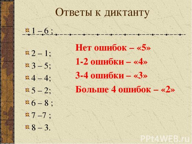 Ответы к диктанту 1 – 6 ; 2 – 1; 3 – 5; 4 – 4; 5 – 2; 6 – 8 ; 7 –7 ; 8 – 3. Нет ошибок – «5» 1-2 ошибки – «4» 3-4 ошибки – «3» Больше 4 ошибок – «2»