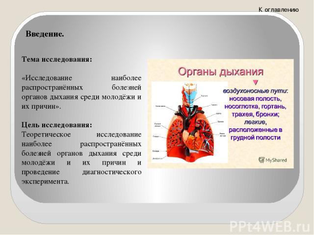 Задачи исследования: Составление Тезауруса (словаря) ключевых терминов, входящих в название темы, объекта и предмета. Определение теоретических особенностей распространения болезней органов дыхания среди молодёжи и их причин. Аналитическое исследова…