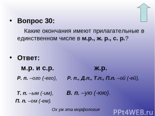 Вопрос 30: Какие окончания имеют прилагательные в единственном числе в м.р., ж.