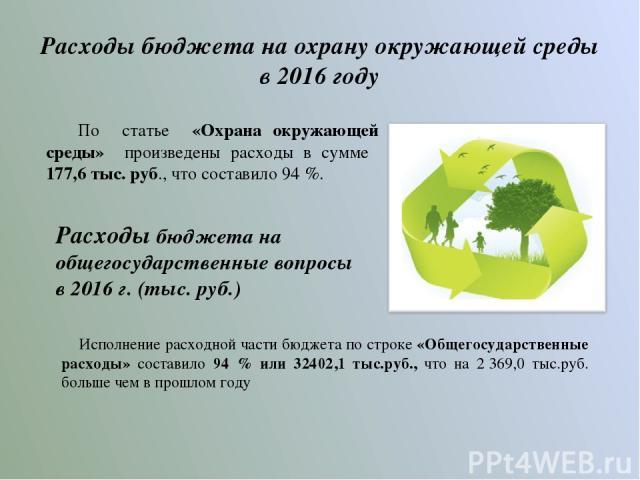 Расходы бюджета на охрану окружающей среды в 2016 году По статье «Охрана окружающей среды» произведены расходы в сумме 177,6 тыс. руб., что составило 94 %. Расходы бюджета на общегосударственные вопросы в 2016 г. (тыс. руб.) Исполнение расходной час…